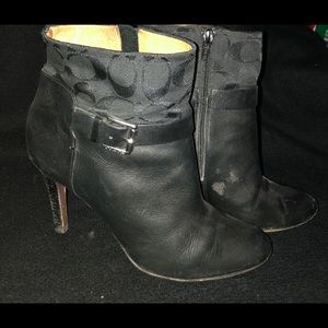 Coach ankle boots heels black 9
